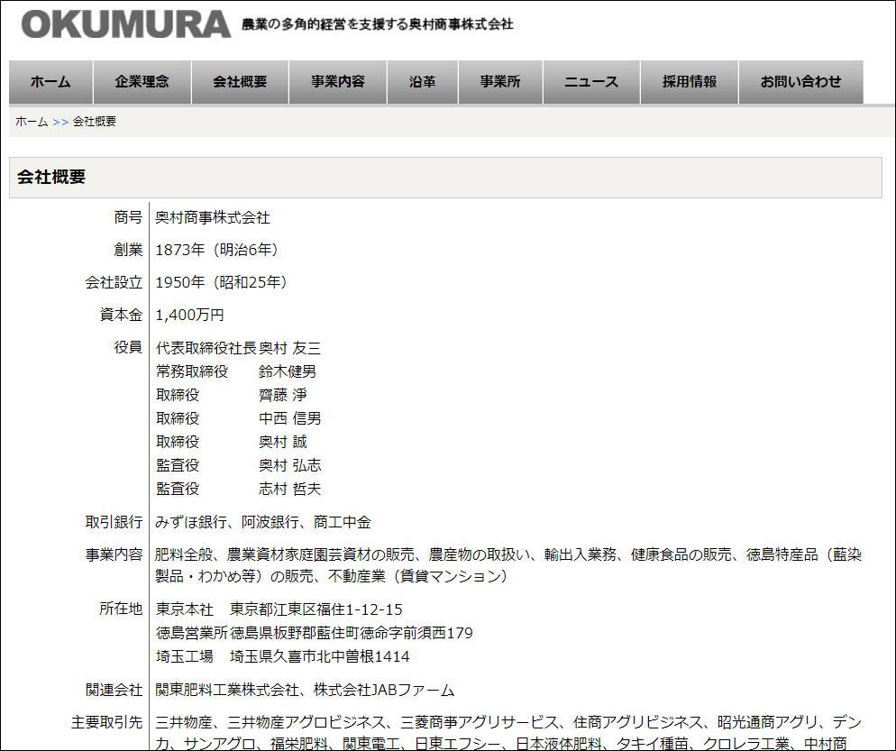 奥村商事株式会社:会社概要ページ更新