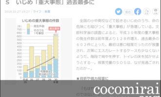 ここから未来:武田さち子:産経新聞掲載、2019年10月27日「トイレの床拭き要求、階段で危険行為…見過ごされたSOS いじめ『重大事態』過去最多に」ページ追加